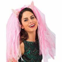 Lánybúcsúra fátyol,- Pink Ördögszarv Fátyollal Lánybúcsúra
