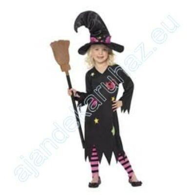 Boszorkány,- Fekete Boszorkány Jelmez 115-128 as + harisnya+ kalap
