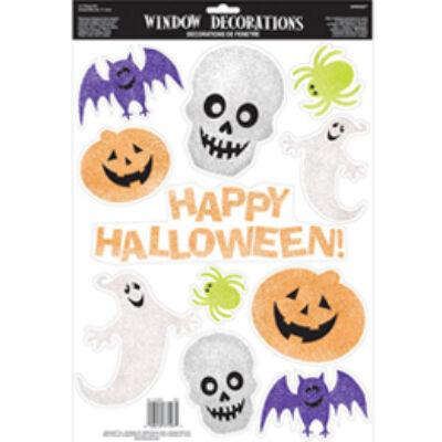 Halloween Figurák Glitteres Ablak Dekoráció - 11 db-os