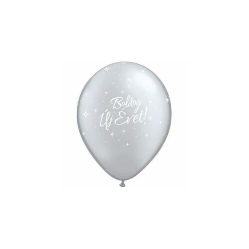 28 cm -es Boldog Új Évet Feliratú Silver Lufi (25 db/csomag)