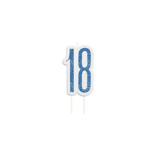 18-as Csillámos Kék Szülinapi Parti Számgyertya