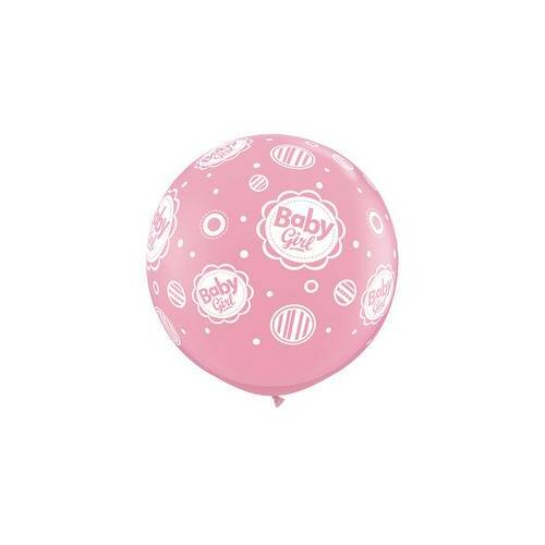 91 cm Óriási Baby Girl Dots A-Round Rózsaszín Lufi