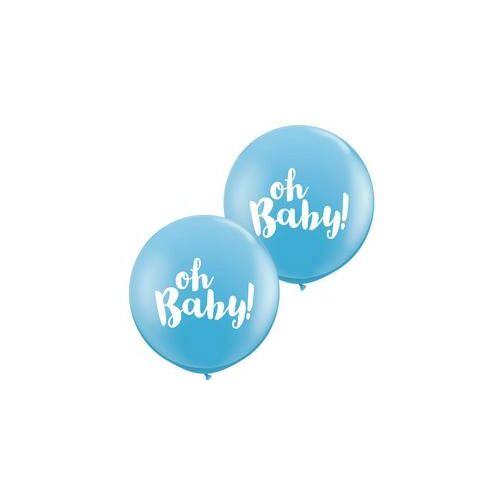 91 cm es Oh Baby! Pale Blue Kerek Latex Lufi Babaszületésre