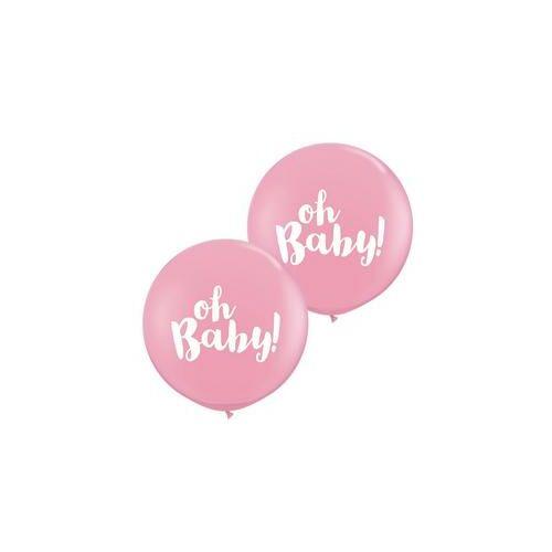 91cm es Oh Baby! Pink Kerek Latex Lufi Babaszületésre