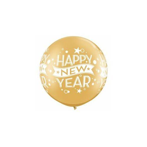 76 cm-es New Year Confetti Dots Wrap Gold Szilveszteri Lufi (2 db/csomag)