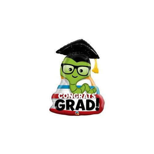 Kukac Ballagási Fólia Lufi Congrats Grad Bookworm
