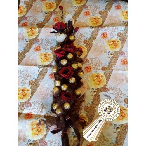 Ferrero bonboncsokor raffia virággal