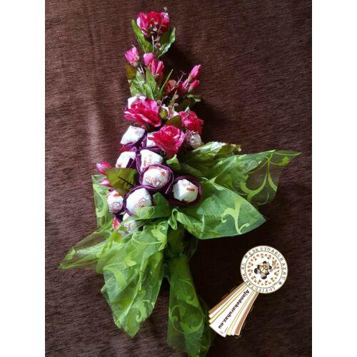Raffaello bonboncsokor virágokkal