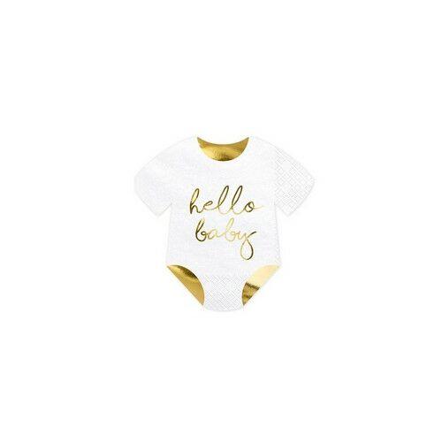 Elegáns exluzív Fényes arany színű Hello Baby Feliratú Bébiruha Formájú Szalvéták
