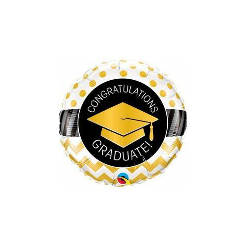 Graduate Gold Chevron Dots Ballagási Fólia Léggömb