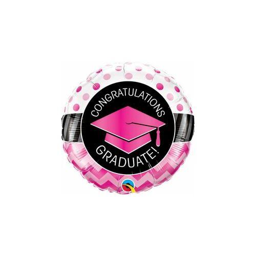 46 cm, Graduate Pink Chevron Dots Ballagási Fólia Lufi