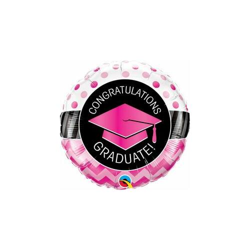 Graduate Pink Chevron Dots Ballagási Fólia Lufi