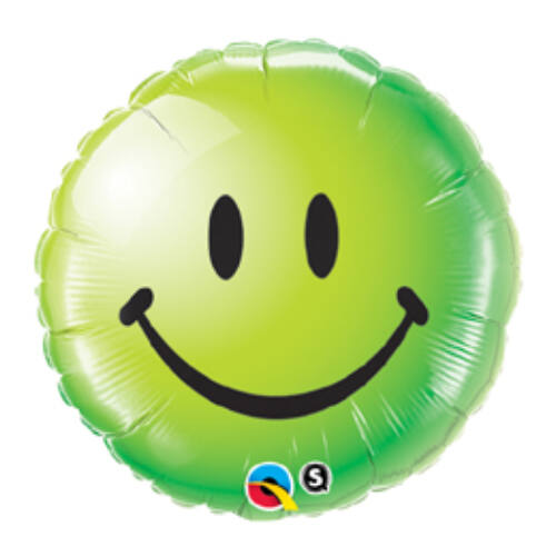 46 cm, Zöld Mosolygós Arc - Smile Face Green Fólia Lufi