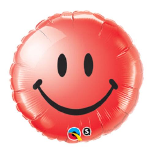 46 cm, Piros Mosolygós Arc - Smile Face Red Fólia Lufi