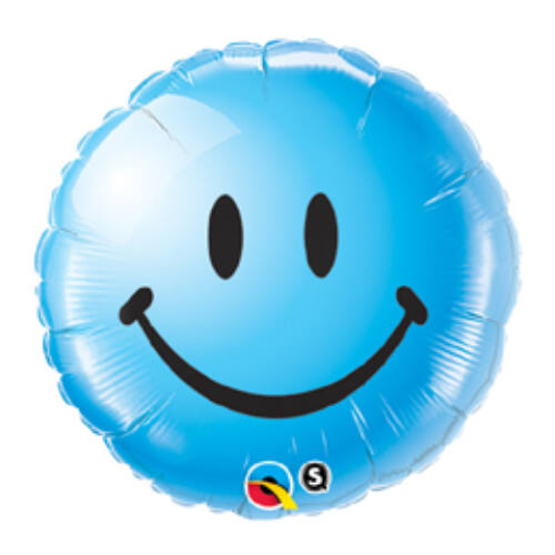 46 cm, Kék Mosolygós Arc - Smile Face Blue Fólia Lufi