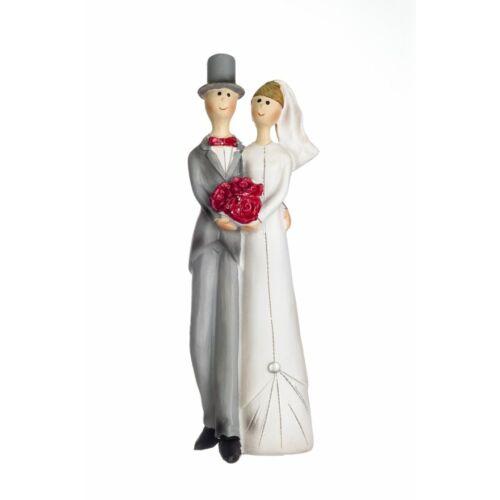 Esküvői tortára Szürke öltönyös vicces pár