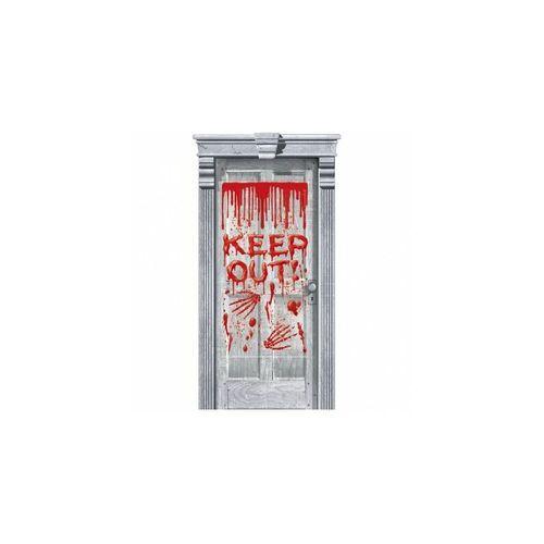 Ajtó dekor, Keep Out! - Véres Ajtódekoráció Halloweenre - 165 cm x 85 cm
