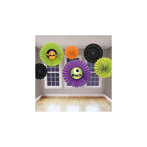 Legyező dekor,-Szörnyecskék - Legyező Függő Dekoráció - 6 Db-Os
