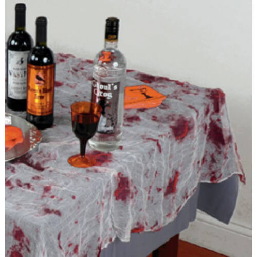 Asztalterítő, Véres Hatású Géz Asztalterítő - 150 Cm X 210 Cm