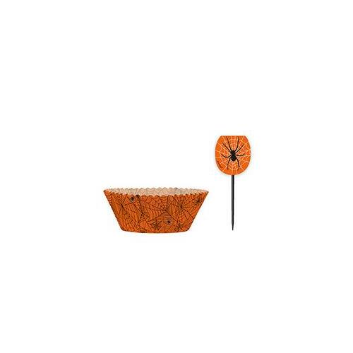 Muffin Narancssárga Pókhálós Muffin Tartó Forma És Falatka Pálcika - 48 Db-os