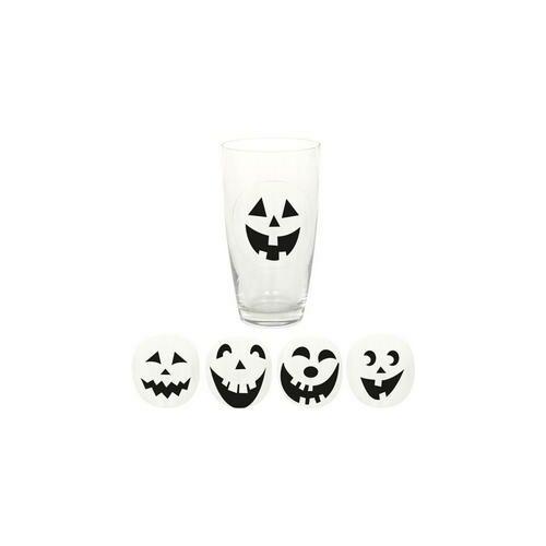Pohár matrica,-Halloween Arcok Matrica Pohárra - 16 Db-Os