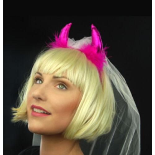 Fejdísz, Pink Ördögszarv Fehér Fátyollal