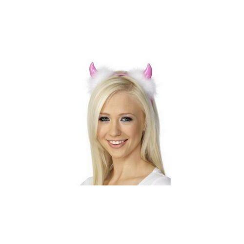 Fejdísz, Pink Ördögszarv Fehér Tollakkal