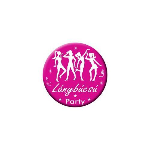 Kitűző, Rózsaszín-Fehér Lánybúcsú Party Kitűző