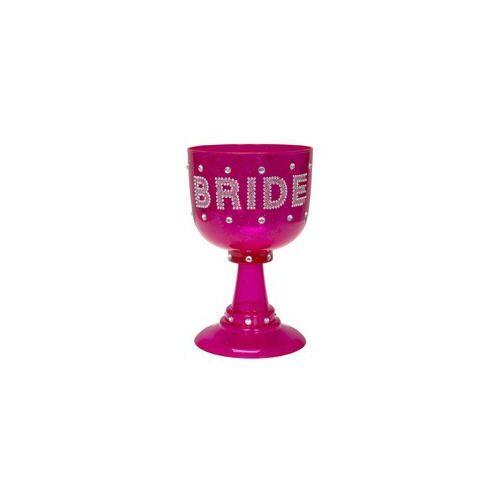 Pohár, 18cm magas Bride Feliratú Rózsaszín Csillogó Kehely Lánybúcsúra