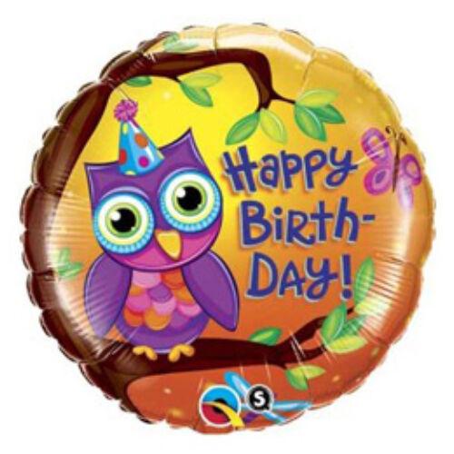 Es Birthday Owl - Bagoly Szülinapi Fólia Lufi