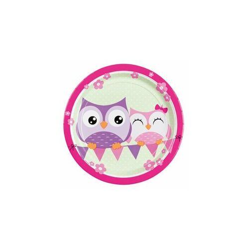 Tányér, Bagoly - Happy Owl Papír Parti Tányér - 23 Cm, 8 Db-Os