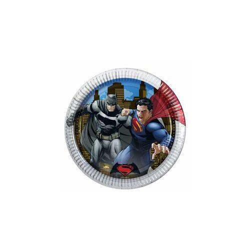 Tányér, Batman Vs Superman - Batman Superman Ellen Parti Tányér - 23 Cm, 8 Db-Os