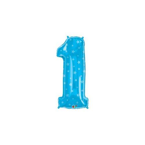86 cm Number 1 Kék Csillag Mintás Fólia Lufi