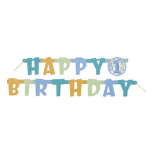 First Birthday Balloons Blue - Első Szülinapi Happy Birthday Betűfüzér