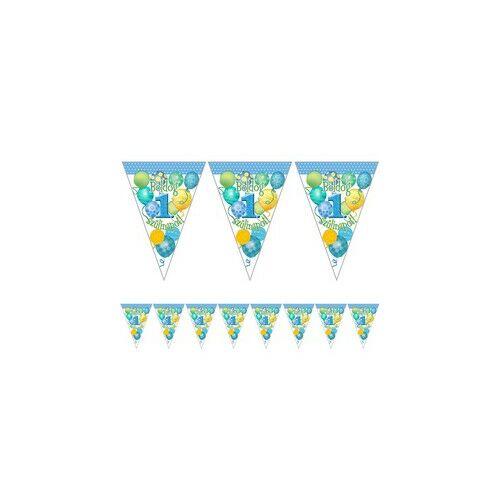 Boldog 1. Szülinapot! Magyar felirattal Léggömbös Kék Fiús Zászlófüzér