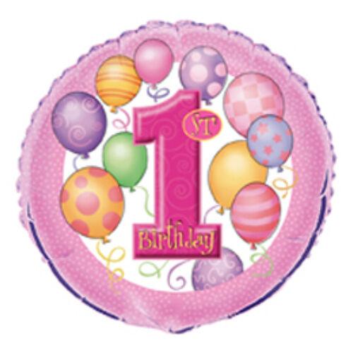 First Birthday Balloons Pink Első Szülinapi Fólia Lufi