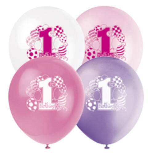 First Birthday Balloons Pink - Első Szülinapi Latex Lufi - 28 Cm, 8 Db-Os