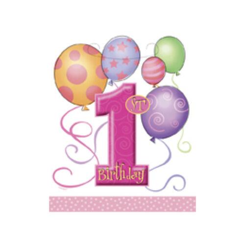 First Birthday Balloons Pink - Első Szülinapi Parti Ajándékzacskó - 8 Db-Os