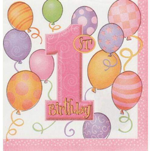 First Birthday Balloons Pink - Első Szülinapi Szalvéta - 33 Cm X 33 Cm, 16 Db-Os