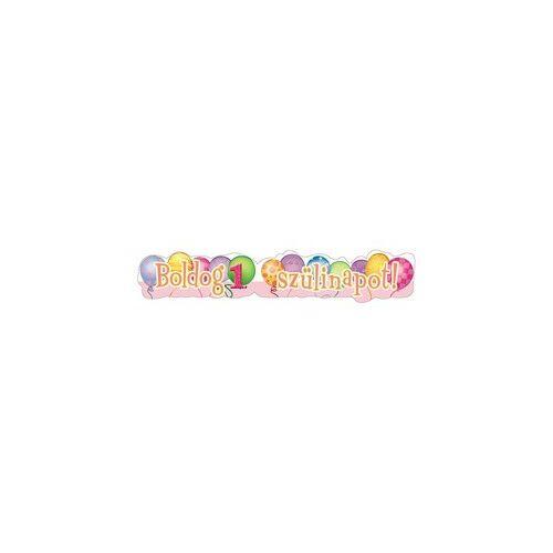 Boldog 1. Szülinapot! Léggömb Mintás Rózsaszín Lányos Banner - 148 cm hosszú