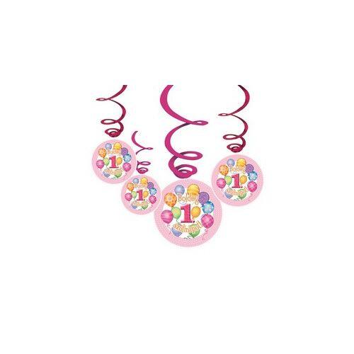 Boldog 1. Szülinapot! Léggömbös Rózsaszín Lányos Parti Függődekoráció 4+2
