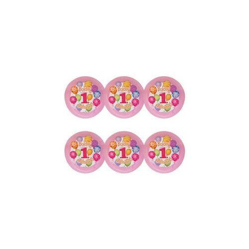 Boldog 1. Szülinapot! Léggömbös Rózsaszín Lányos Parti Tányérok