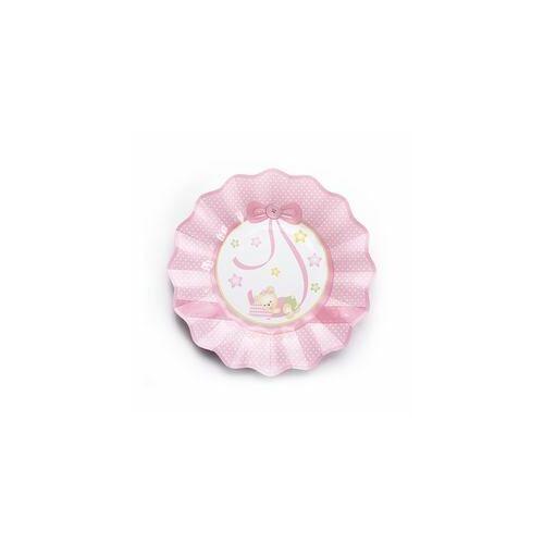 Pink Alvó Macis Csillagos-Pöttyös Bébi Party Tányérok