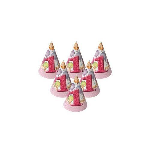 Boldog 1. Szülinapot! Léggömbös Rózsaszín Lányos Parti Csákók