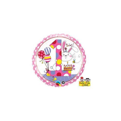 46 cm es Első Szülinapi, 1-es Számos Nyuszis Pöttyös Bunny Polka Dots Szülinapi Fólia Lufi