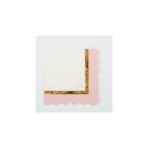 Fényes Arany csíkkal díszített Rózsaszín Szalvéták