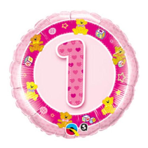 Első Szülinapra Rózsaszín Macik - Age 1-es Pink Teddies Szülinapi Számos Fólia Lufi