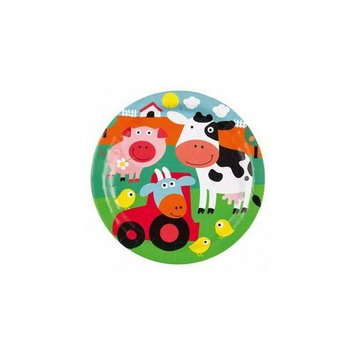 Tányér, Farm Állatok - Farm Fun Papír Parti Tányér - 23 Cm, 8 Db-Os
