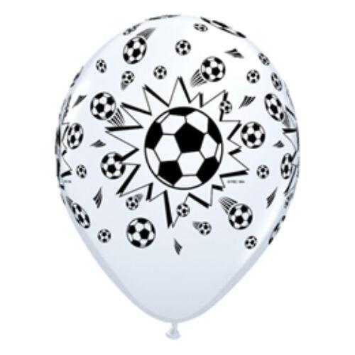 Lufi, 28cm,Soccer Balls White - Focilabdás Lufi (6 Db/Csomag)