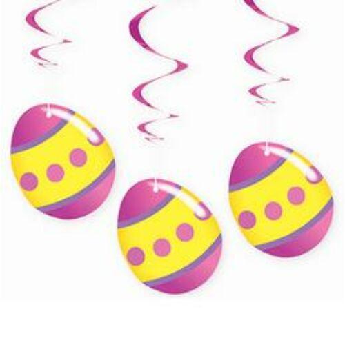 Tojások Spirális Függő Dekoráció Húsvétra, 3 db-os